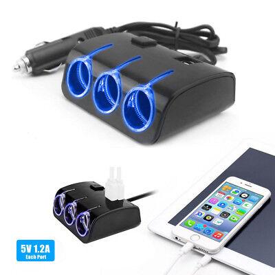 MULTI CAR CIGARETTE LIGHTER SPLITTER 12V/24V 3WAY SOCKET Switch USB PLUG CHARGER ()