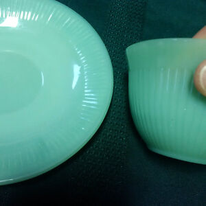 Vintage 1950's Green Fire King Cup and Saucer London Ontario image 4