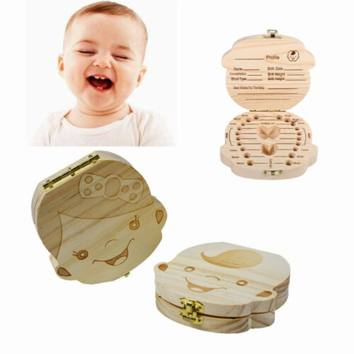 Wood Kids Tooth organizer Storage box For Baby Milk Teeth Collect case