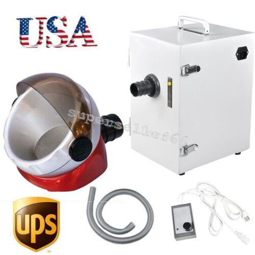 USA 370W Dental Digital Dust collecting Collector Vacuum Cleaner + suction base