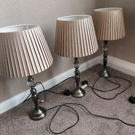 3 x taupe table lamps