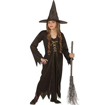 HEXE Kinder Kostüm Gr. 140 für 8-10 J. SCHWARZ Halloween Mädchen Hexen - Mädchen Hexe Kostüm Schwarz
