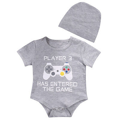 Player 3 Newborn Baby Boy Girl Funny Romper Bodysuit Jumpsuit Clothes Outfits](Funny Outfits)