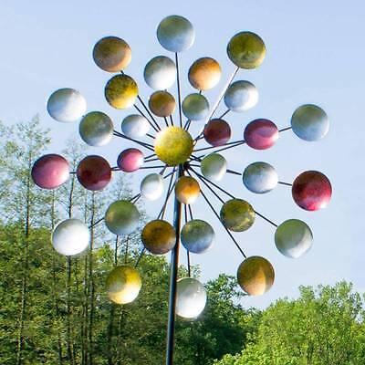WINDRAD Windspiel Windmühle XXL H.197cm Ø 81cm Metall Bunt Garten Gartenstecker
