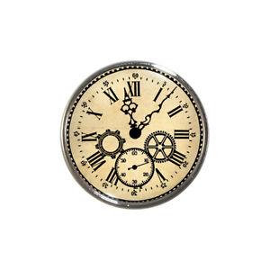 Vintage Clock Face Fridge Magnet Victorian Steampunk Cogs Roman Brand New