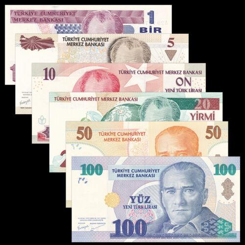Turkey Set 6 PCS, 1 5 10 20 50 100 Lira, P-216 217 218 219 220 221, UNC