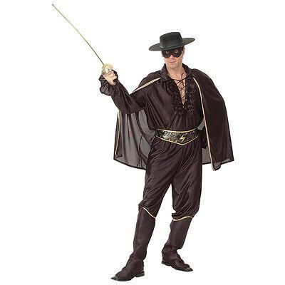 ADULT ONE SIZE BANDIT MUSKETEER BLACK OUTFIT LEGEND OF ZORRO FANCY - Black Bandit Kostüm