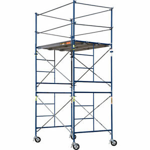 10' scaffolding with safety rail, castors, and 4 planks
