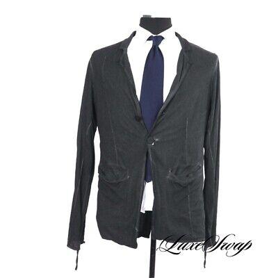 MODERN STEALTH Thom Krom Washed Black Anthracite Linen Blend Gothic Jacket L NR