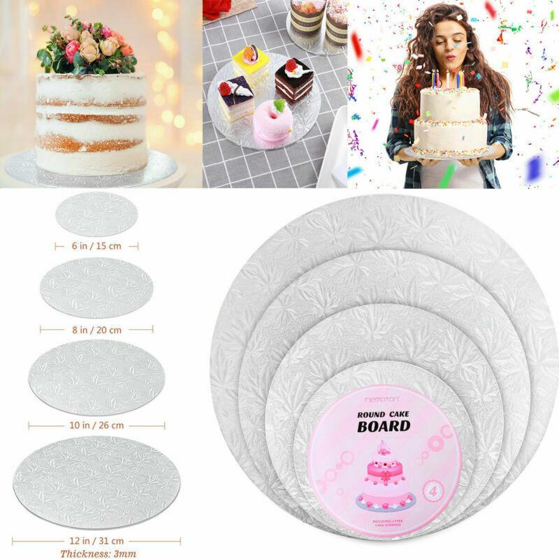 with 3 Cake Scrapers Hemoton 4PCS Round Cake Board Round Cake Circle Base 6 inches, 8 inches, 10 inches and 12 inches