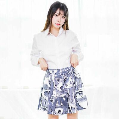 Ahegao Emoji Face Pleated Skirt Japan Harajuku Anime Funny Costume Girl Dress - Harajuku Girls Costume