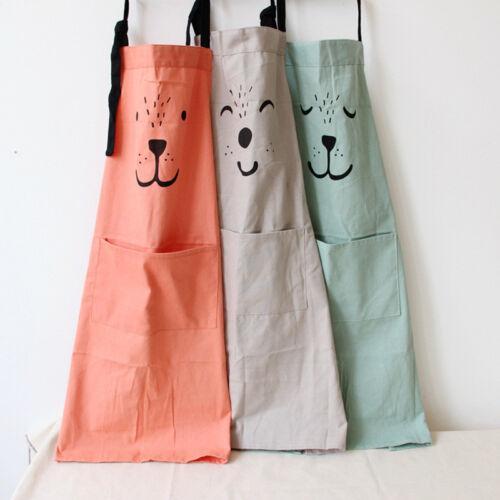 US Cotton Linen Cartoon Bear Apron Kitchen Cooking Baking Sm