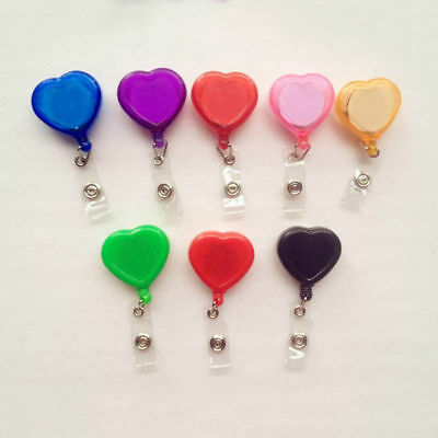 Colourful Heart Shape Retractable ID Reel Chain Badge Holder Key Tag Clip USWC - Heart Shape Key Tag