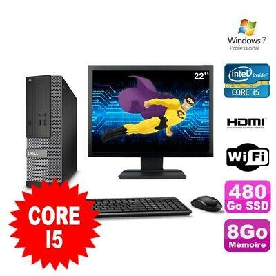 Lot PC DELL 3010 SFF I5-2400 DVD 8Go 480Go SSD HDMI Wifi W7 + Ecran 22