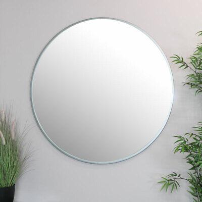 Extra grande redondo plata espejo de pared vintage marco metal industrial