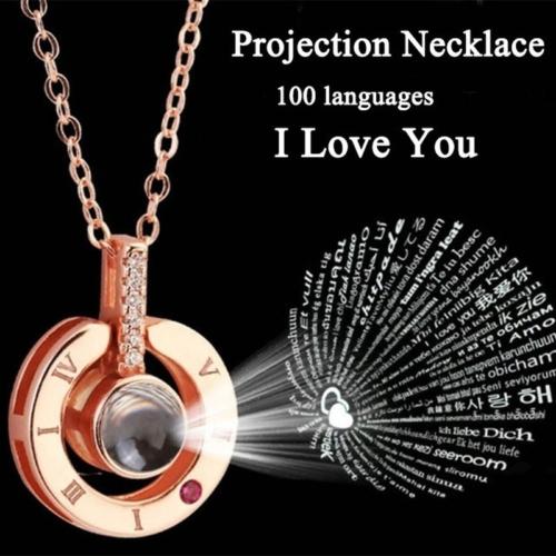 I LOVE YOU in 100 languages Pendant Necklace Romantic Day Va