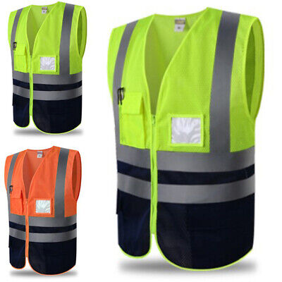 High-Visibility Reflective Vest Gear Outdoor Safety Security Warning Jacket Coat
