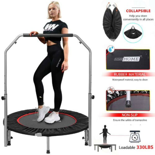 40inch Foldable Fitness Trampoline Mini Rebounder w/ Adjustable Handle 330lbs