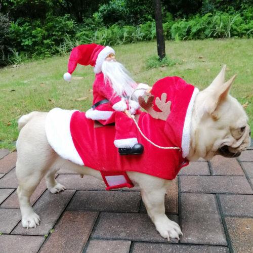 Christmas Santa Claus Pet Dog Fancy Dress Jacket Coat Costume Outfit Clothes we 5