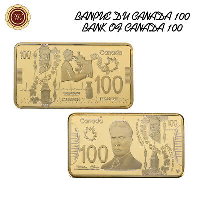 WR Canada 100 Dollars 1 OZ 24K Gold Clad Art Collectors Bar Gift Ideas For Men
