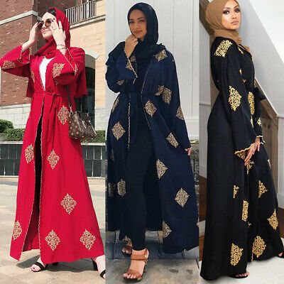 Women Dubai Muslim Abaya Evening Dress Hijab Dress embroidery Kimono Cardigan