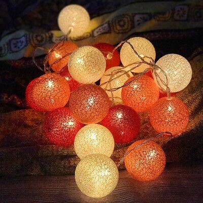 USB 20LEDs Cotton Ball String Fairy Lights Globe Decor Lamp For Party Wedding