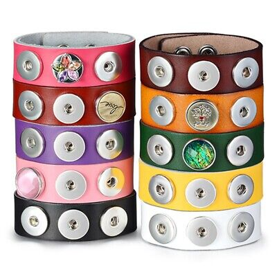 Ginger Snap Candy Color Leather Bracelets Fit 18mm Snap Button DIY Charm Jewelry - Candy Charm