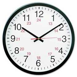 Universal® 24-Hour Round Wall Clock, 12 5/8, Black 087547104415