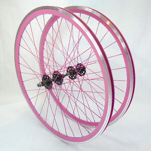 Neuf - Roues pour fixie rose -fixed gear pink wheelset