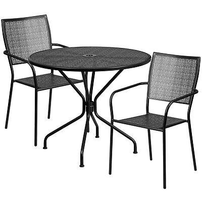 35.25 Round Black Indoor-outdoor Patio Restaurant Table Set W2 Metal Chairs