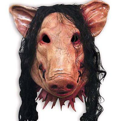 Saw Pig Head Scary Masks Novelty Halloween Costume With Hair Latex Villain Joke - Saw Pig Halloween Costume