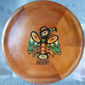 Vintage Western Red Cedar wood wall platter/wooden plaque Eagle
