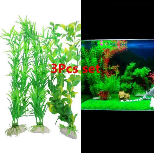 3Pcs Long Aquarium Green Plastic Grass Water Plant for Fish Tank DIY Decorating