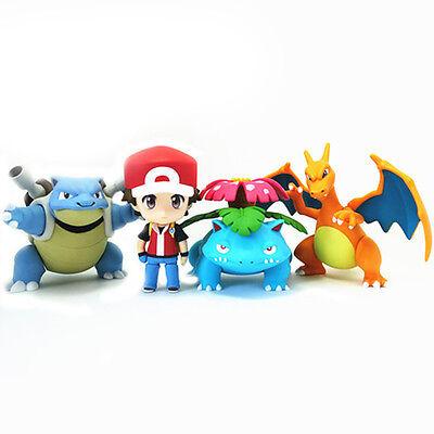 Pokemon Ash Ketchum Charizard Blastoise Venusaur 4'' Action Figures Anime Toys