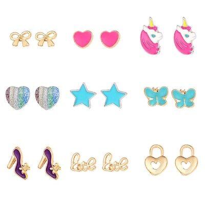 (9 Pairs Cute Small Unicorn Butterfly Bowtie Stud Earrings Set For Kids Girls)