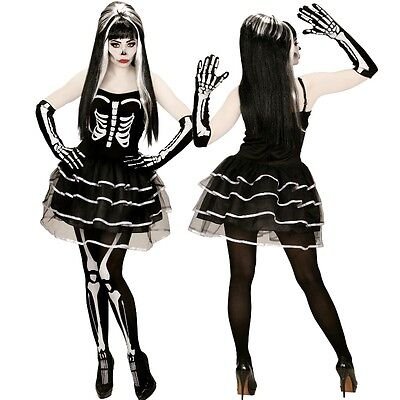 SKELETT LADY Damen Halloween Kostüm Skeleton Girl Tod  34 36 38 40 42 44 46