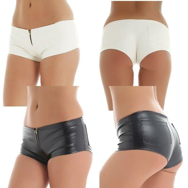 Womens Shiny Leather Short Hot Pants Wetlook Leg Tight Zipper Shorts Underwear