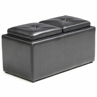 Pemberly Row Storage Ottoman with 2 Flip Over Serving Tray in Black ()