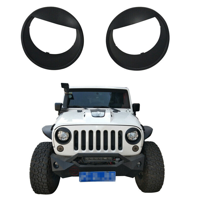 Pair ABS Bezels Angry Bird Headlight Trim Cover Fit For Jeep Wrangler JK 07-18