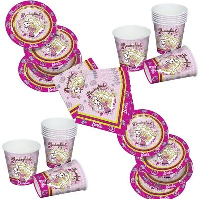 Barbie Pferdeglück Party Set  12xBecher 20xServietten 12xPappteller Geburtstag ()