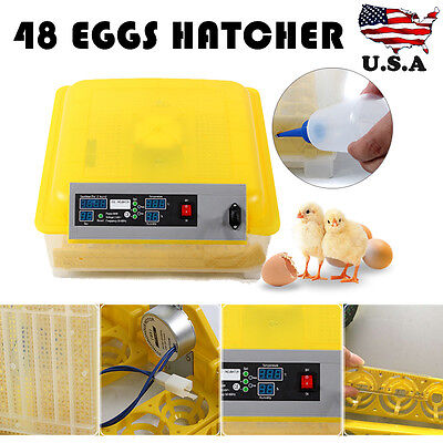 48 Digital Clear Egg Incubator Hatcher Automatic Egg Turning Temperature Control