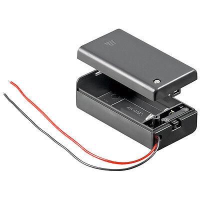 Batteriehalter 9 V-Block Gehäuse + Schalter Akku Batterie Halter Anschluss 4493