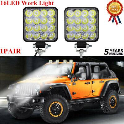 2PCS 48W 16LED Work Light Flood Beam Bar Car ATV Off-Road Driving Fog Lamps