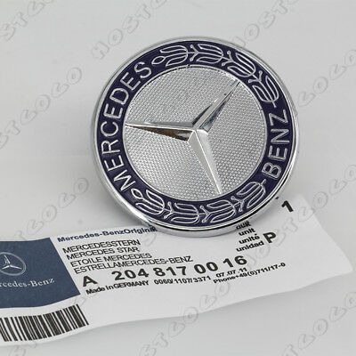 Blue Metal Flat Hood Emblem For Mercedes Benz C E SL Class Ornament logo 57MM