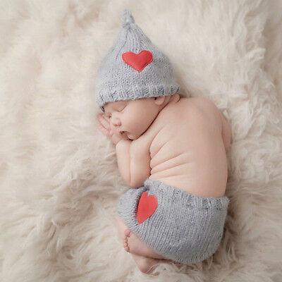 Baby Strickmütze Fotoshooting Kostüm Neugeborenen Junge Mädchen Newborn 2 Tlg.