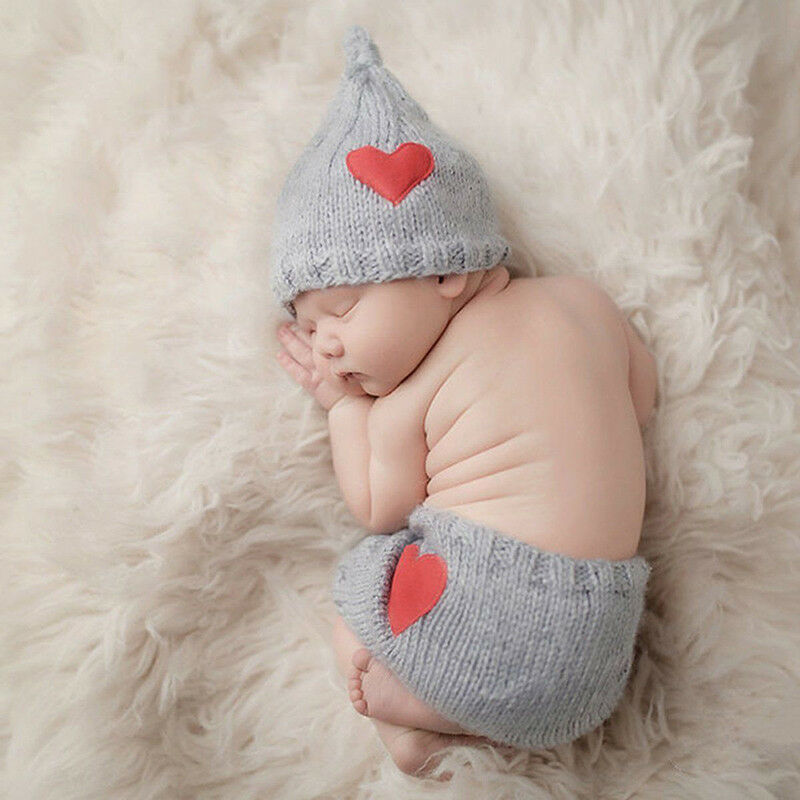 Baby Strickmütze Fotoshooting Kostüm Neugeborenen süß Junge Newborn 2 Tlg. Neu