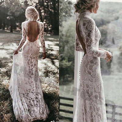 High Neck Wedding Dresses Vintage Mermaid Long Sleeve Bridal Gown Sexy Backless