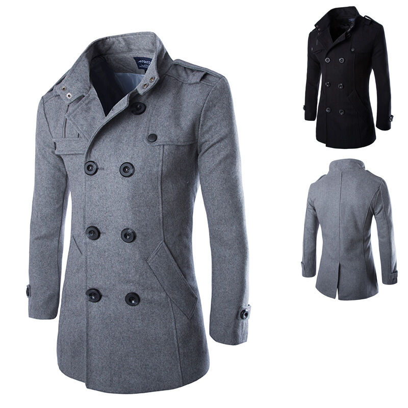 herren stylisch zweireihig w rmer winter trenchcoat mantel. Black Bedroom Furniture Sets. Home Design Ideas