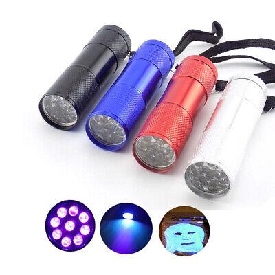 Mini Aluminum 395 UV Light Flashlight 9 LED Ultra Violet Torch Lights Black Lamp