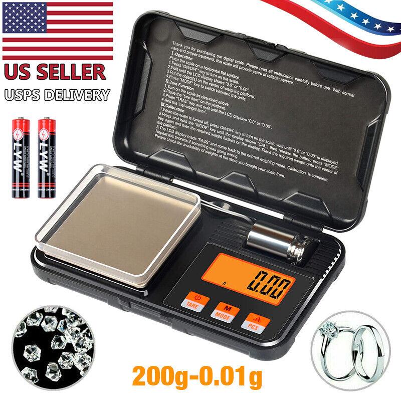 Digital Pocket Scale, Precise 200g x0.01g Jewelry Gold Gram Herb Karat Weight US